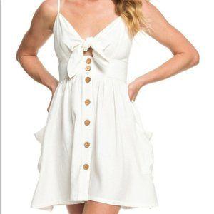 Roxy White Tie Knot Front Button Summer Dress Sz L